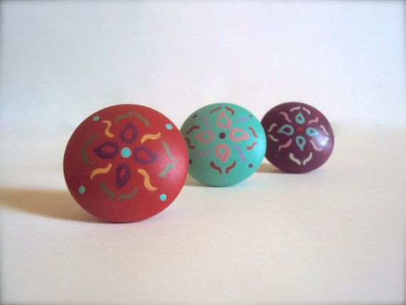 Pin On I Want, Hand Painted Wood Cabinet Knobs
