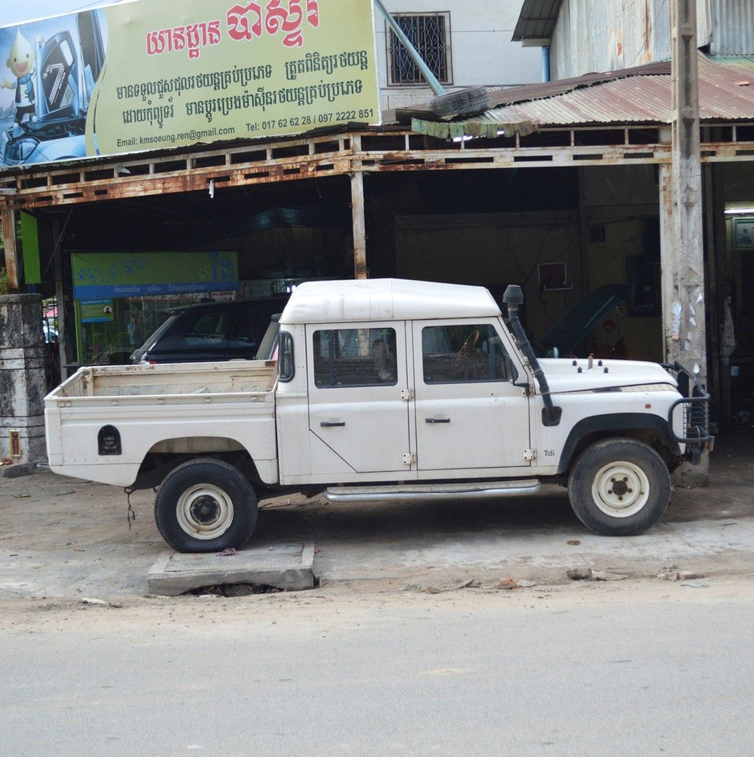 Old Land Rover pickup truck seen in Cambodia. These Defender ...