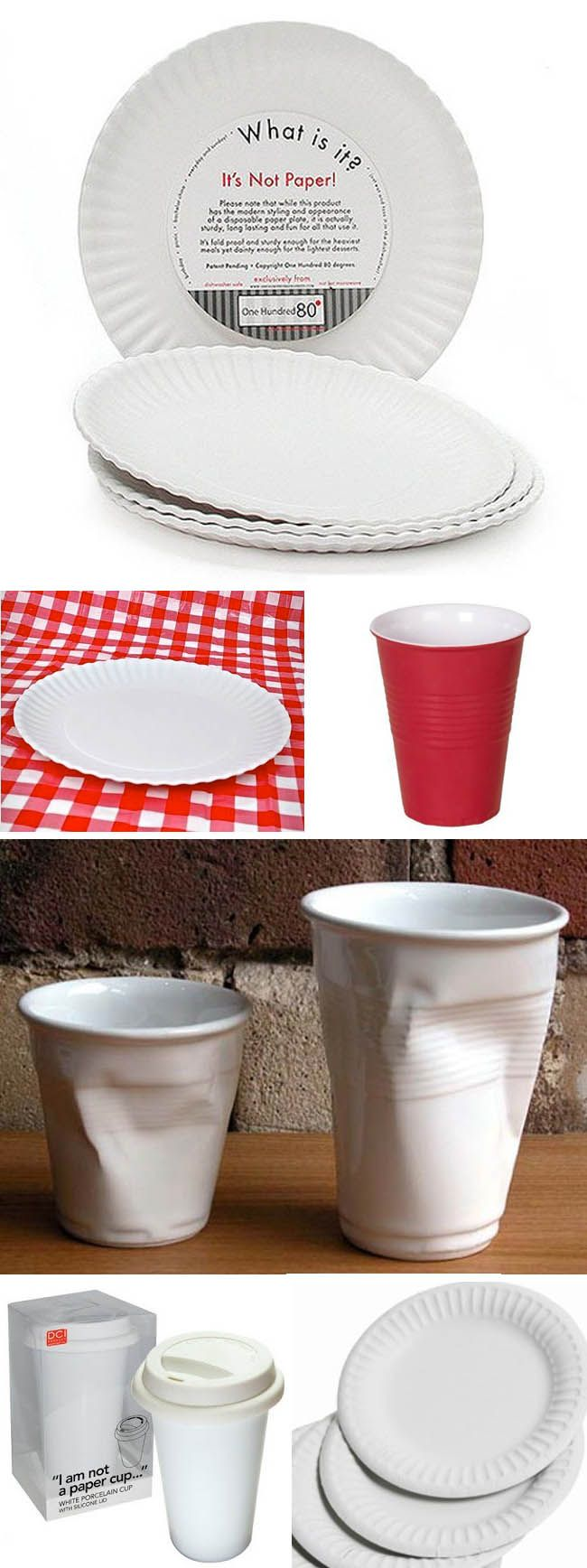 Paper plates and cups made in melamime and porcelain