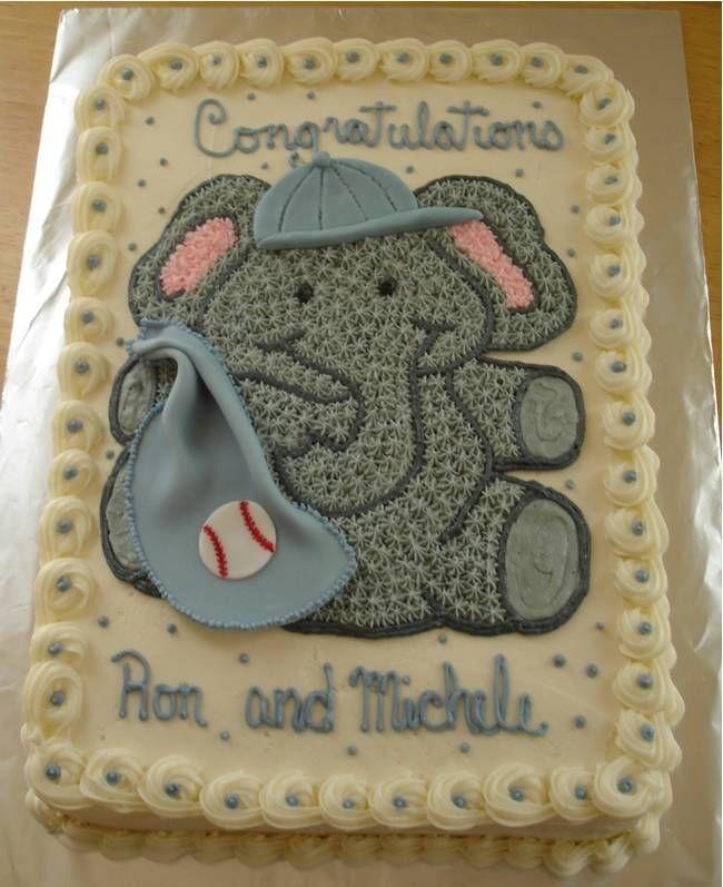 Elephant Baby Shower Cake | Baseball Elephant For Baby Shower 1 4 Sheet Cake  Butter Cream