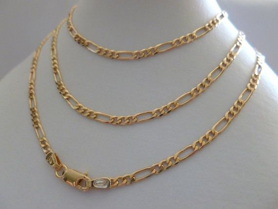 81e4433e9cd02 9ct 9k Solid Yellow Solid Gold Figaro Flat Link Chain Necklace 60CM ...