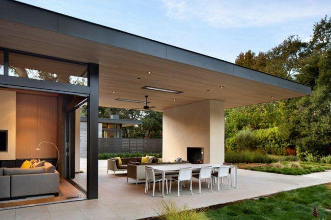 Beton Wand Terrasse Gestalten Uberdachung Essgbereich Lounge