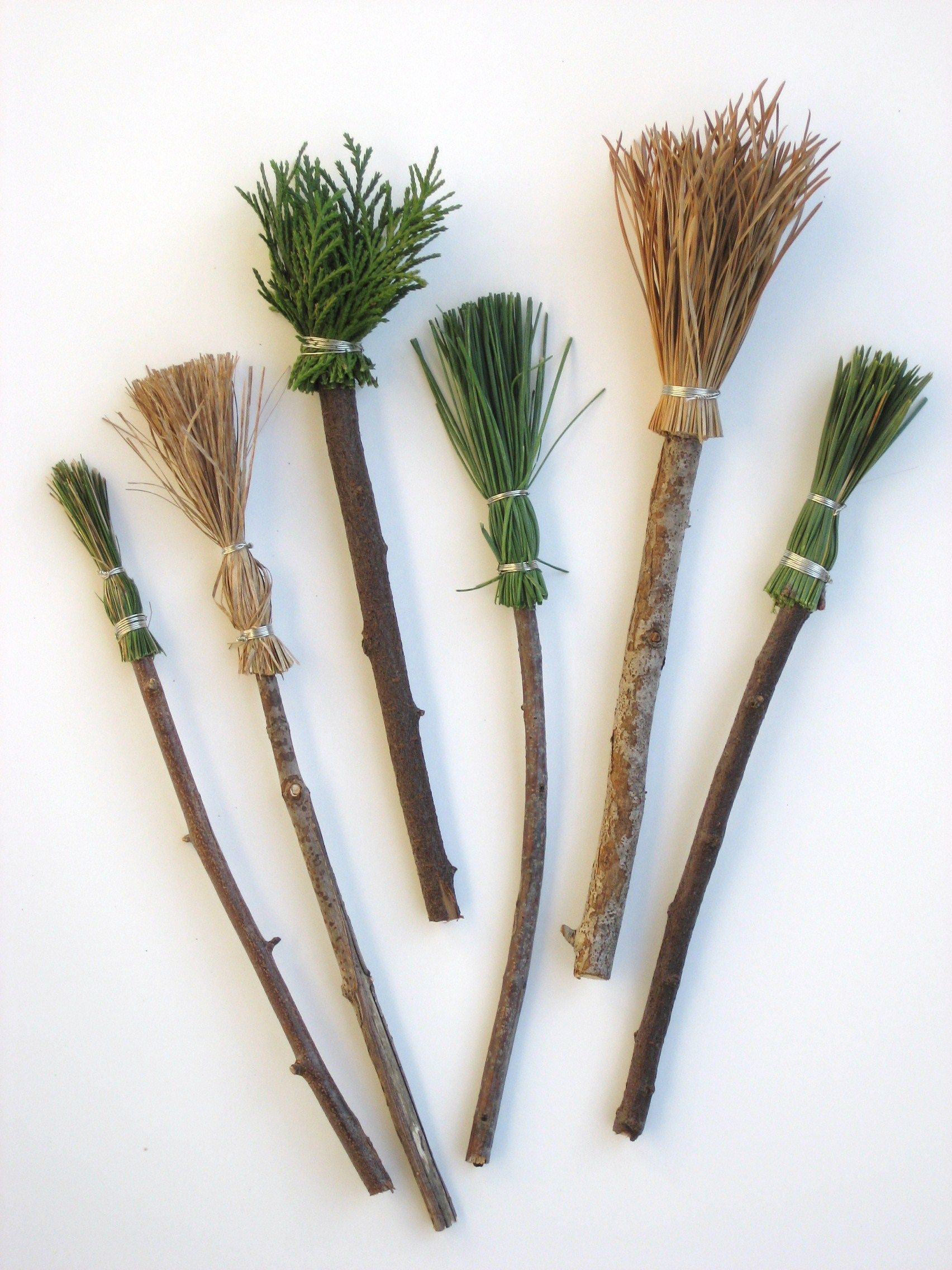 Your child can make some brooms or paintbrushes from nature.......so sweet