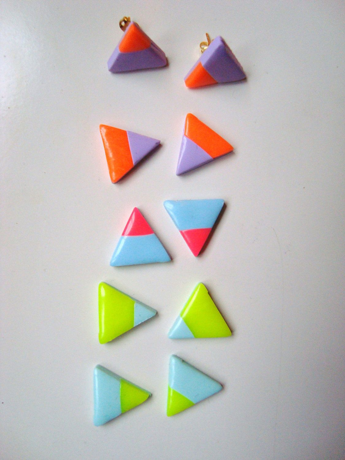 b5fae1514d928 SMALL polymer clay triangle stud earrings in neon/pastel ...