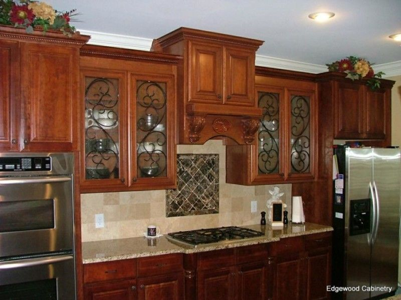 Kitchen Cabinet Glass Door Inserts With Wrought Iron Swirls