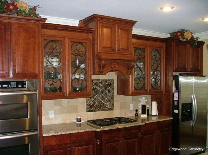 Kitchen Cabinet Glass Door Inserts With Wrought Iron Swirls