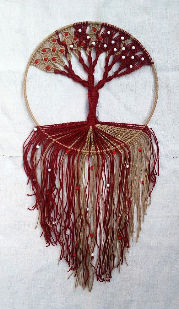 Handmade Macrame Wall Hanging Tree Of Life Red Natural
