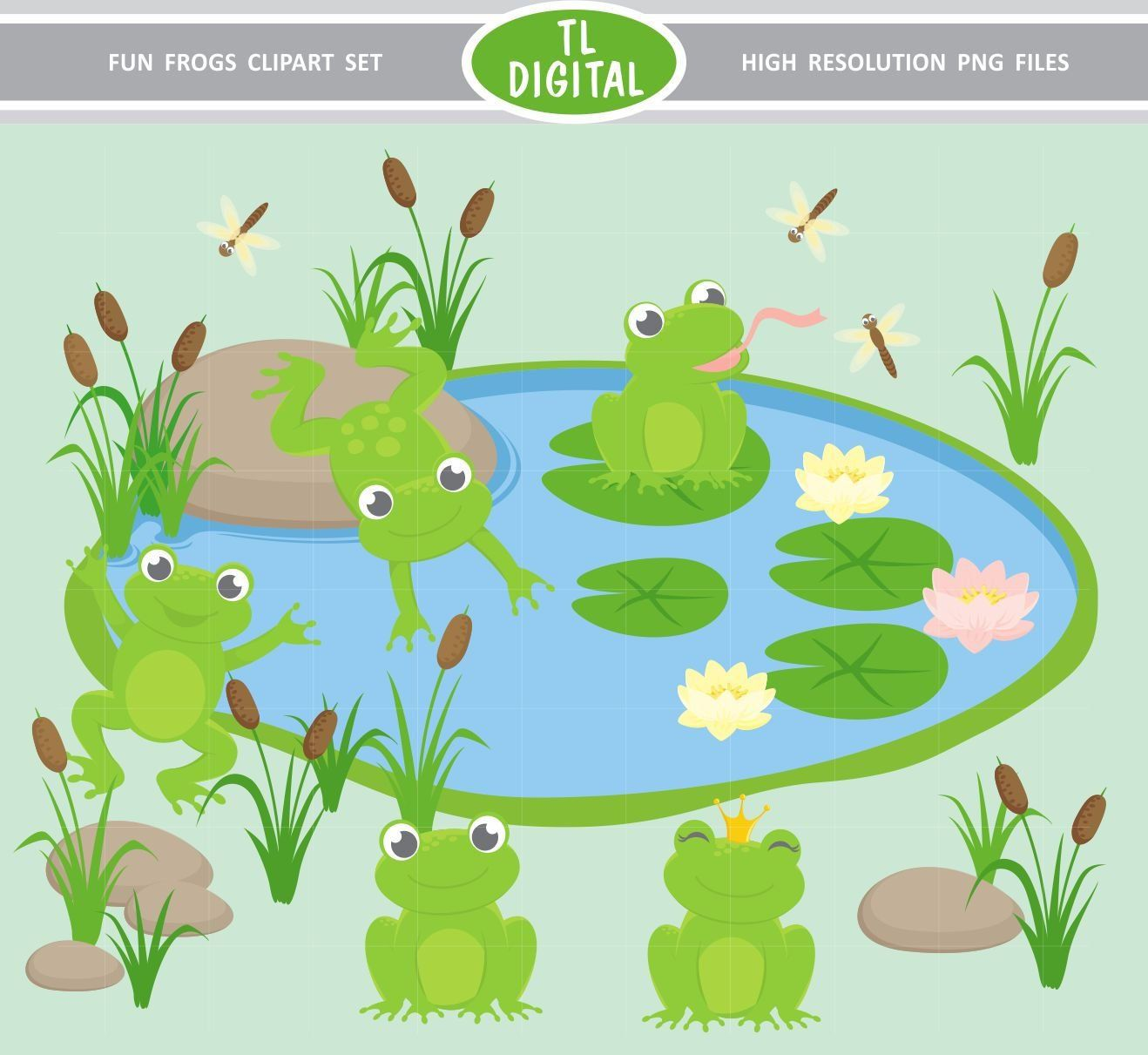 Frog Fun Clipart Set Cute Pond High Resolution Png Files 17 Clipart Illustrations Clip Art Printable Stationery Cute Frogs