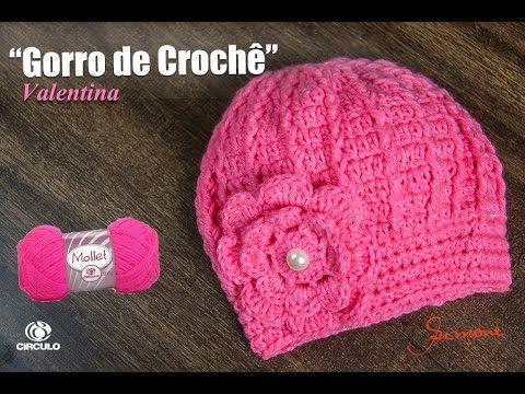 Gorro   Touca de Crochê Valentina - Professora Simone - YouTube ... 9a632f6eca1