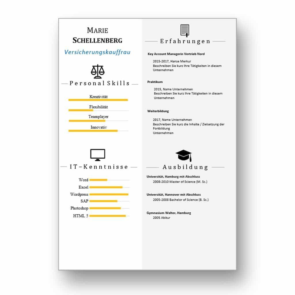 Lebenslauf Folgeseite mit Icons als Download: Ideal für Bewerber mit ...