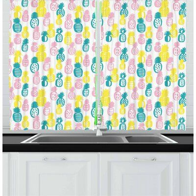 East Urban Home Pineapple Kitchen Curtain Pineapple Kitchen Kitchen Curtains Curtains