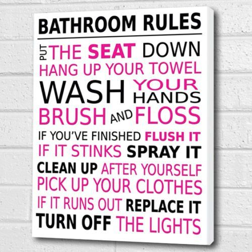 Bathroom Rules Wall Art Box Canvas Magenta Black A3 12x16 Inch Cheryl Monaghan Http Www Amazon Co Uk Dp Bathroom Rules Wall Art Bathroom Rules Wall Canvas
