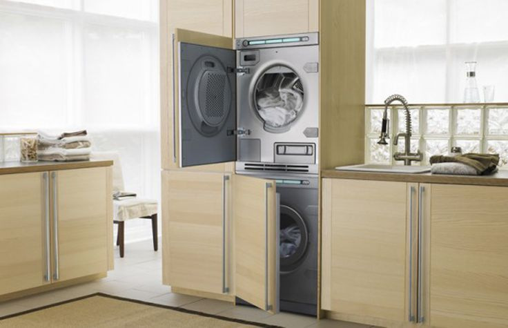Exceptionnel Cool Laundry Room Design In Kitchen High Technology Washing Machine Placed  Inside Wooden