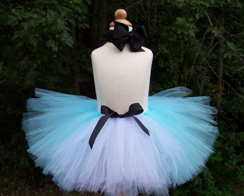Save some money and do it yourself with this all inclusive kit diy alice in wonderland inspired tutu kit blue and white tutu with matching hair set solutioingenieria Image collections