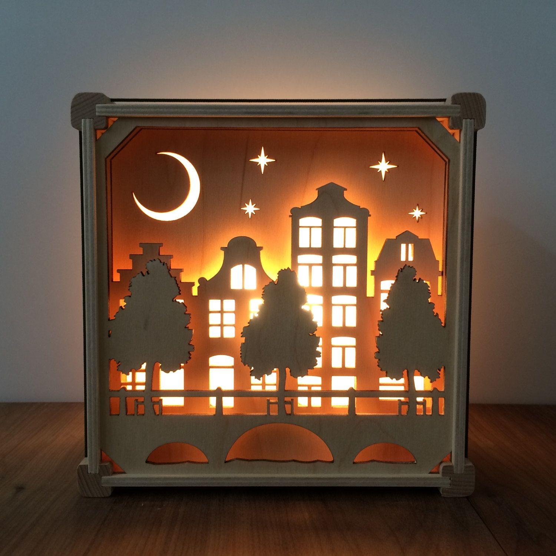 Nachtlicht Grachten Buildings Shadow Light Box Shadow Box Art Lamp