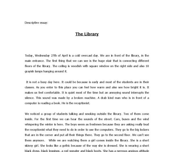 Essay Describing A Place In 2020 Example Of Descriptive Writing On