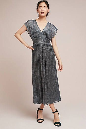 62970bfbec8e Pleated Metallic Wrap Dress | Fancy | Pinterest | Wrap dresses ...