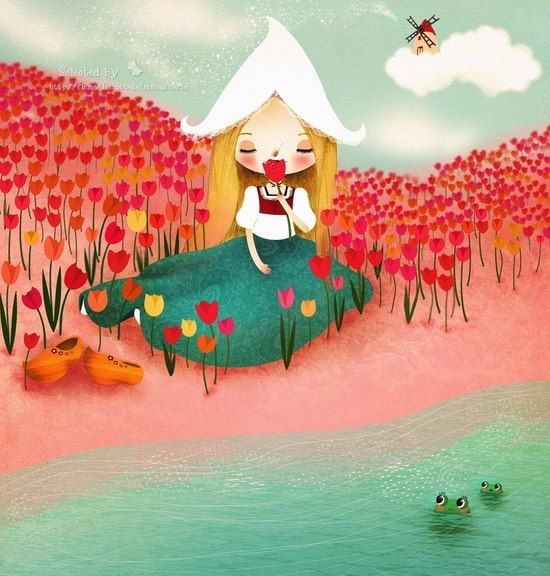 entre tulipanes, ilustración de Monica Baretti