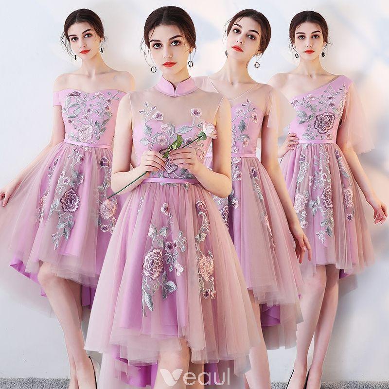 Vestido Alto Lila Vestidos De Damas De Honor 2018 A-Line / Princess ...