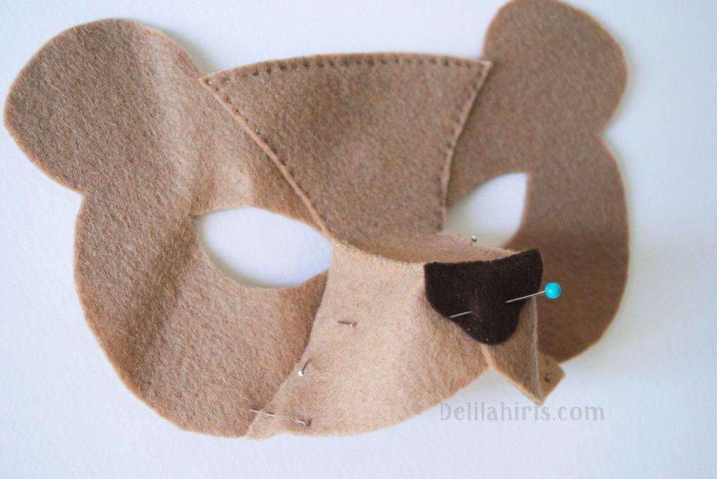 Children/'s Woodland Animal Brown BEAR Felt Mask