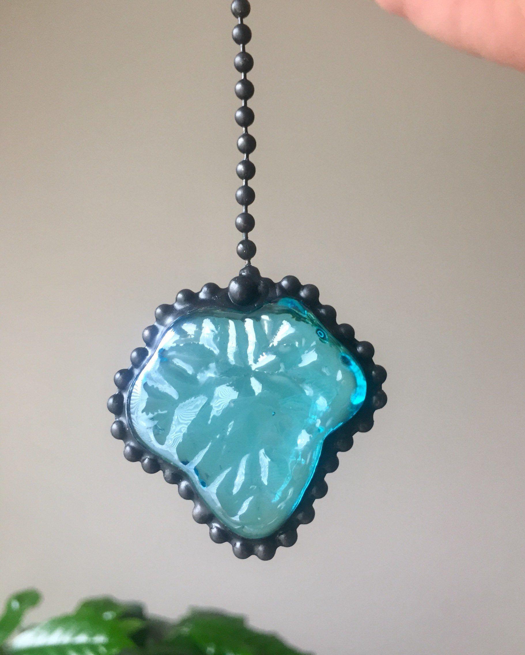 Ceiling Fan and Light Pull Chain Set Aqua Glass Beads