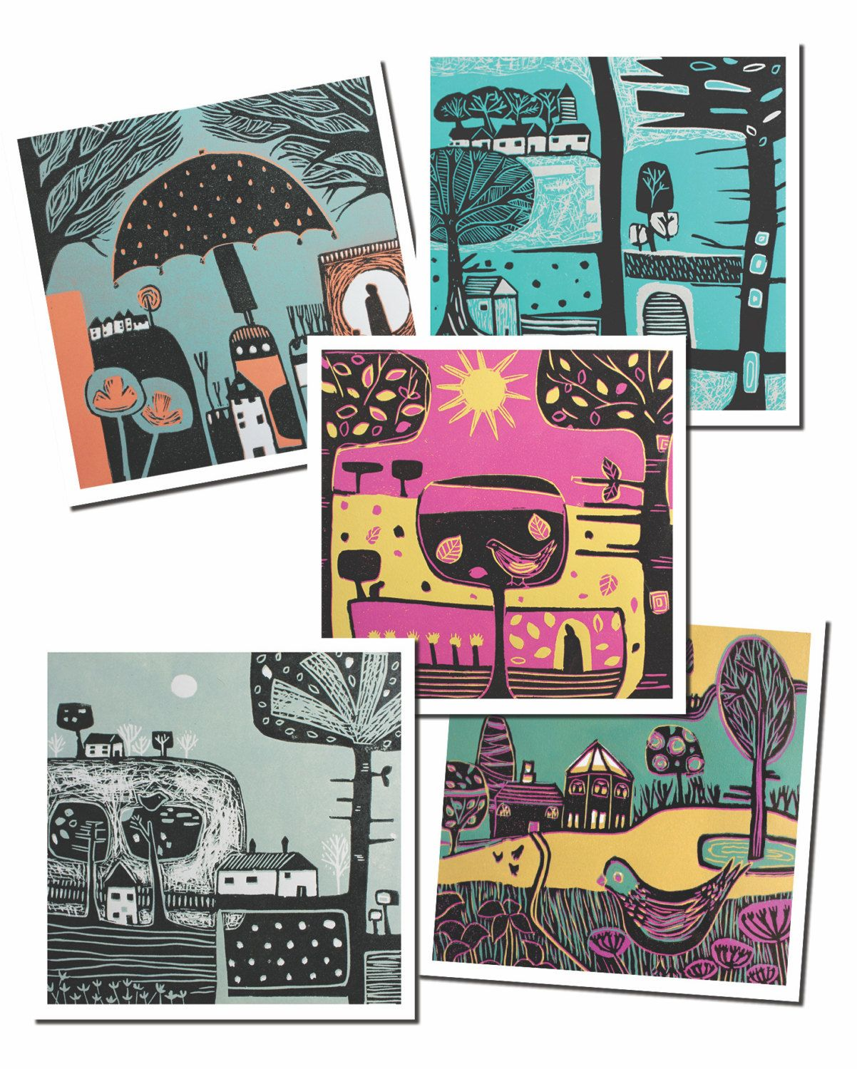 Colourful landscape lino print greeting card pack all seasons greetings card original art cards birthday cards blank card set of five kristyandbryce Image collections