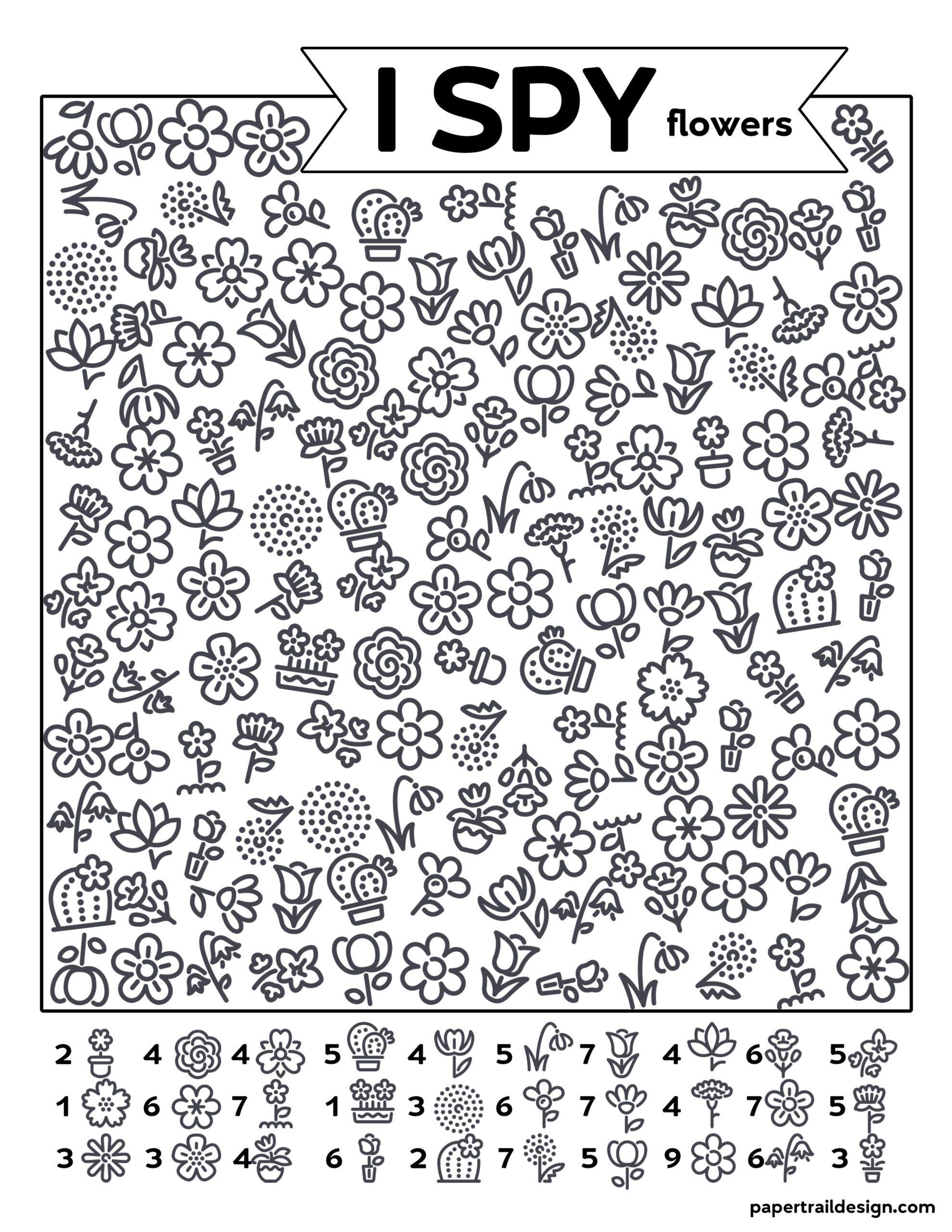 Free Printable I Spy Flowers Activity
