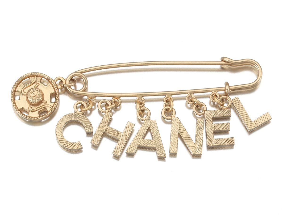 Chanel Costume Jewelry Safety Pin Brooch With