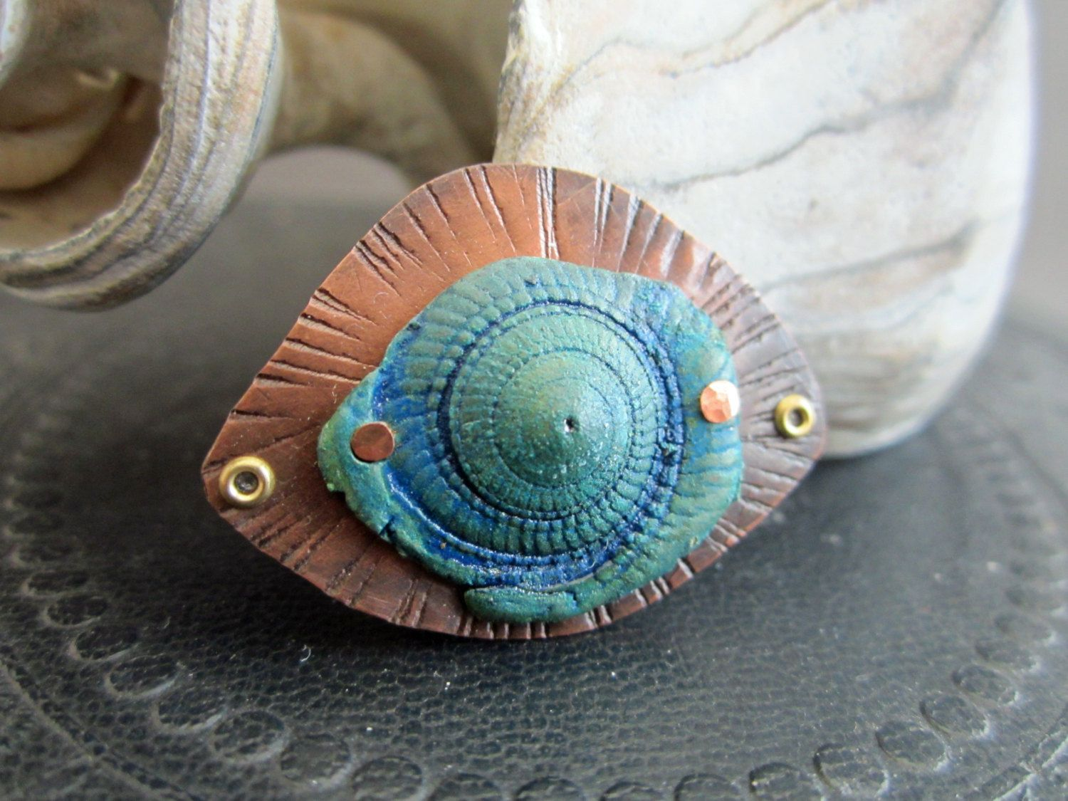 Time Soaked Shell Blue Connector Bronze by SLArtisanAccents, $15.00