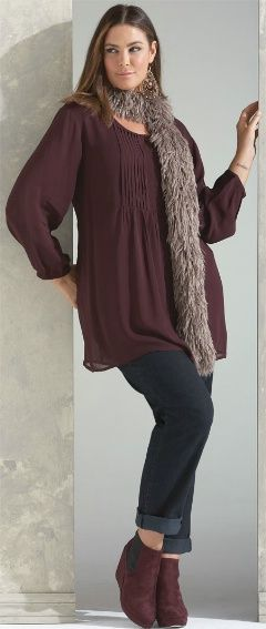 FOLKLORE GEORGETTE TOP## - Tops - My Size, Plus Sized Women's Fashion & Clothing