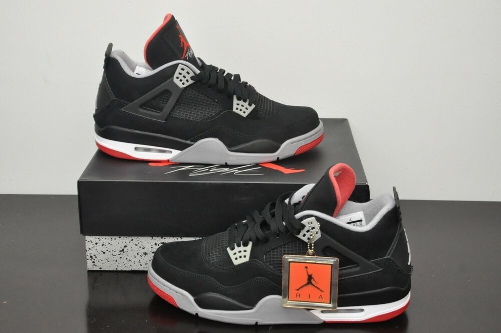 7daa96f8ea01 2012 Nike Air Jordan 4 IV Retro Bred Black Red Men s Size 13 (308497-089)  NEW DS  Jordan  AthleticSneakers