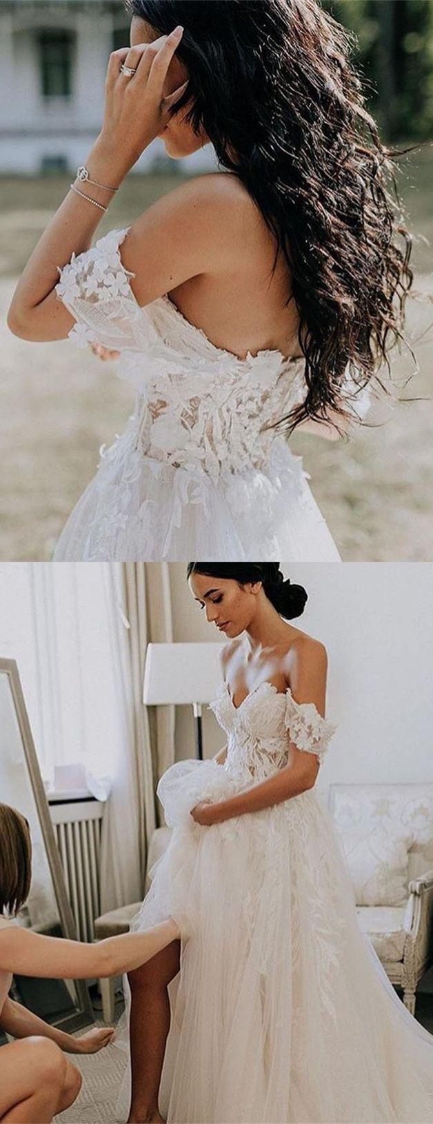 Aline offtheshoulder short sleeves court train wedding dress with