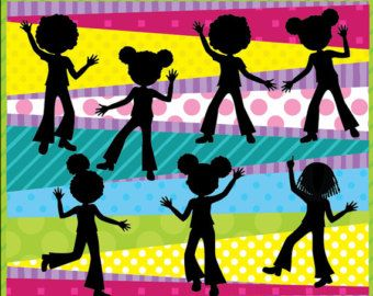 Six disco children silhouette having a great time. :) The silhouettes come separately in individual PNG files with 300ppi resolution.  The background is a mix and match of digital papers that you can find here: https://www.etsy.com/listing/64787672/digital-paper-pack-fun-party-colors  For the clip art of the kids: https://www.etsy.com/listing/220781748/digital-clip-art-disco-party-for-kids  This item is ready for instant download. :)