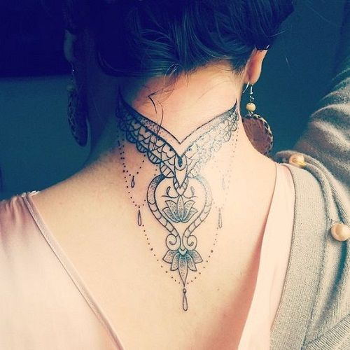 Amazing Neck Tattoo With Mandala Details And Jewels Tattos