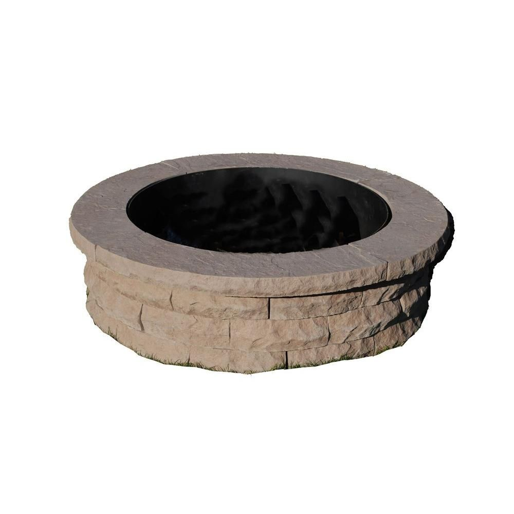 Nantucket Pavers Ledgestone 47 in. Concrete Fire Pit Ring Kit Brown-72003 -  The Home Depot - Nantucket Pavers Ledgestone 47 In. Concrete Fire Pit Ring Kit Brown