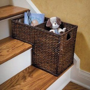 Rattan Step Basket   OH. Im Always Putting Stuff On The Stairs To Go Up!