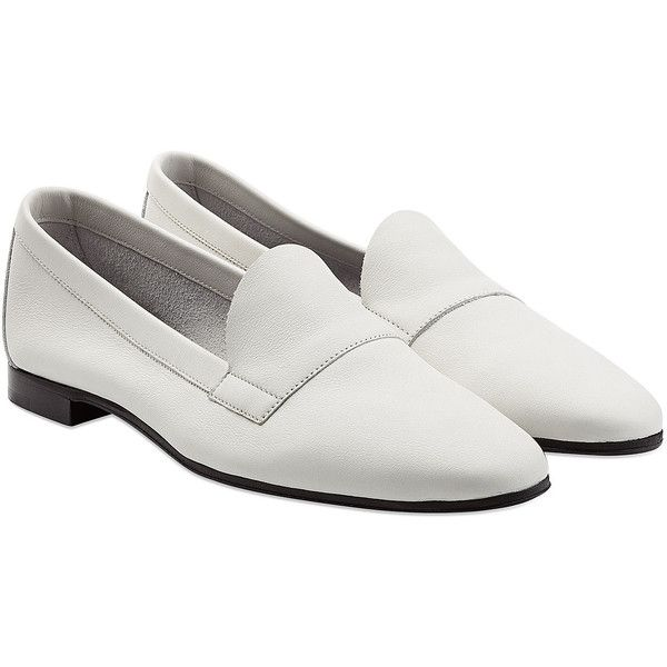 Pierre Hardy Jacno Leather Loafers (¥16,985) ❤ liked on Polyvore featuring shoes, loafers, flats, white, white leather flats, leather shoes, leather loafer shoes, white shoes and loafer shoes