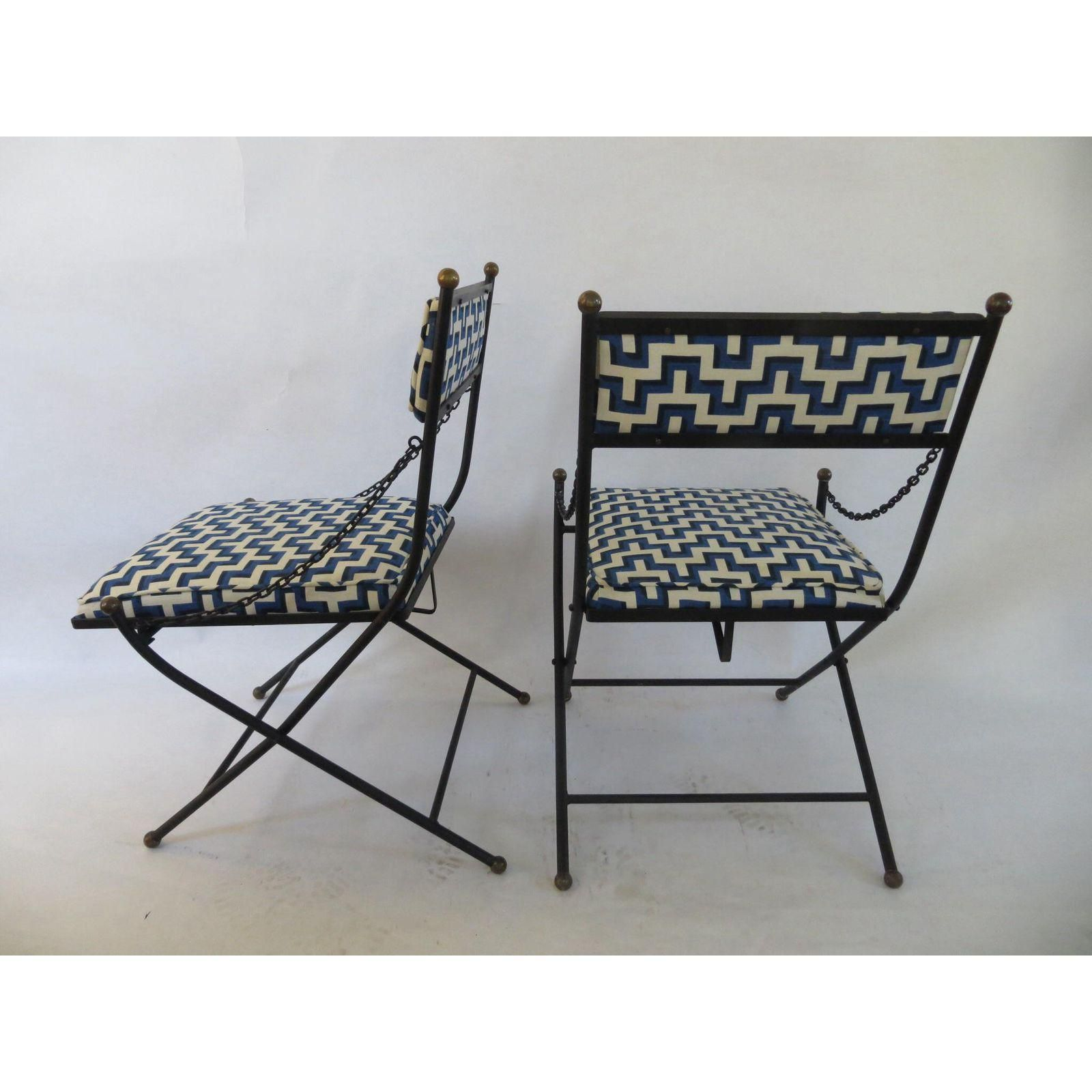 Vintage Folding Wrought Iron Chairs a Pair