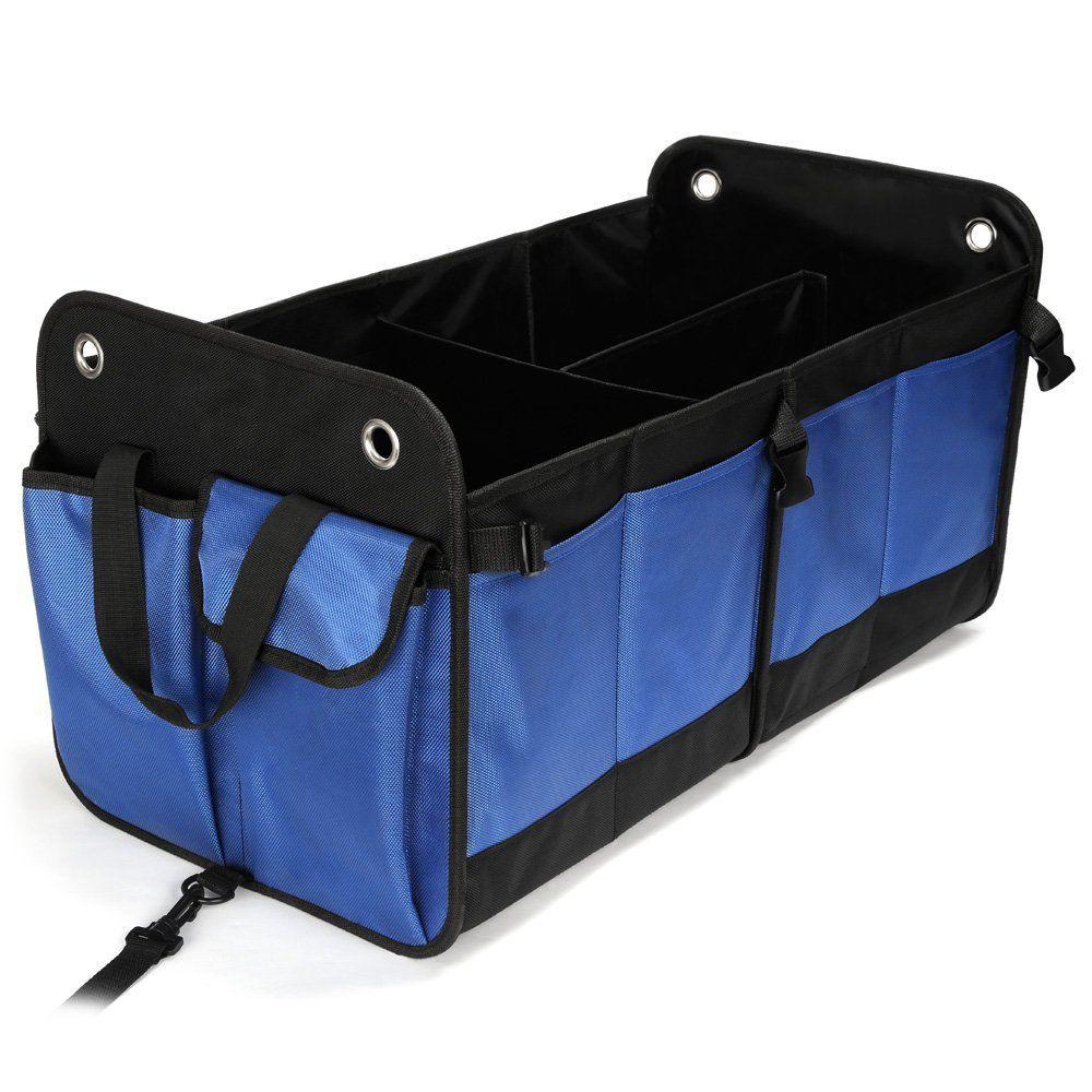 Coffre de Rangement Voiture Compartiments Organisateur de Coffre de Voiture 2 en 1 Bag Pliable de Premi/ère Qualit/é avec R/églable 26 pouces et Imperm/éable /à leau accessoire voiture Bleu et Noir