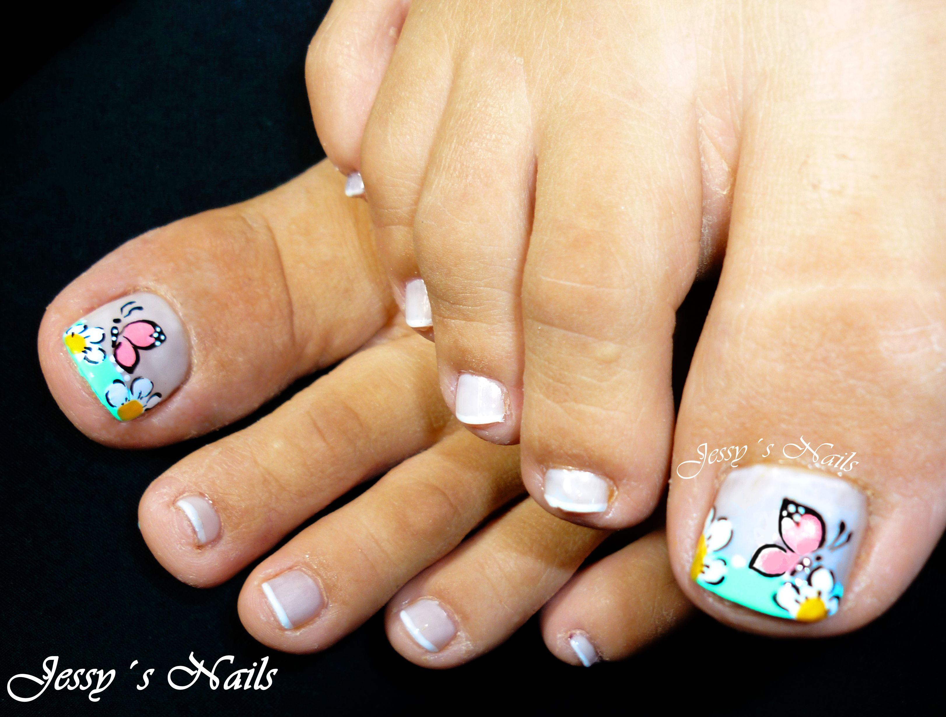 uñas con mariposas y flores pies uñas nailart