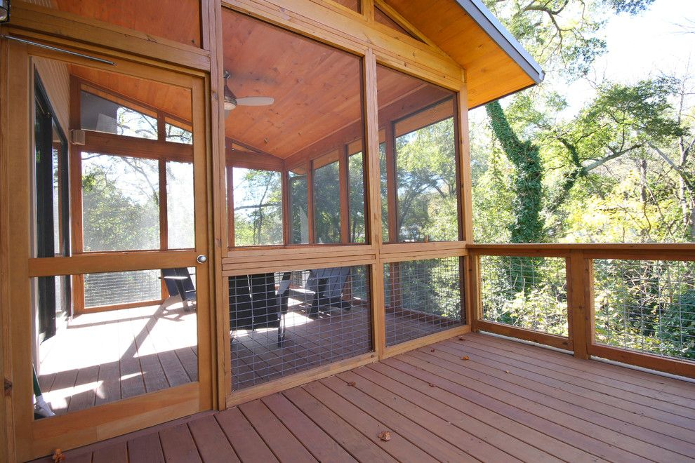 Cat Proof Screen Door Deck Contemporary With Adirondack Chairs Ceiling Fan...minus  The Roof And Door Part?
