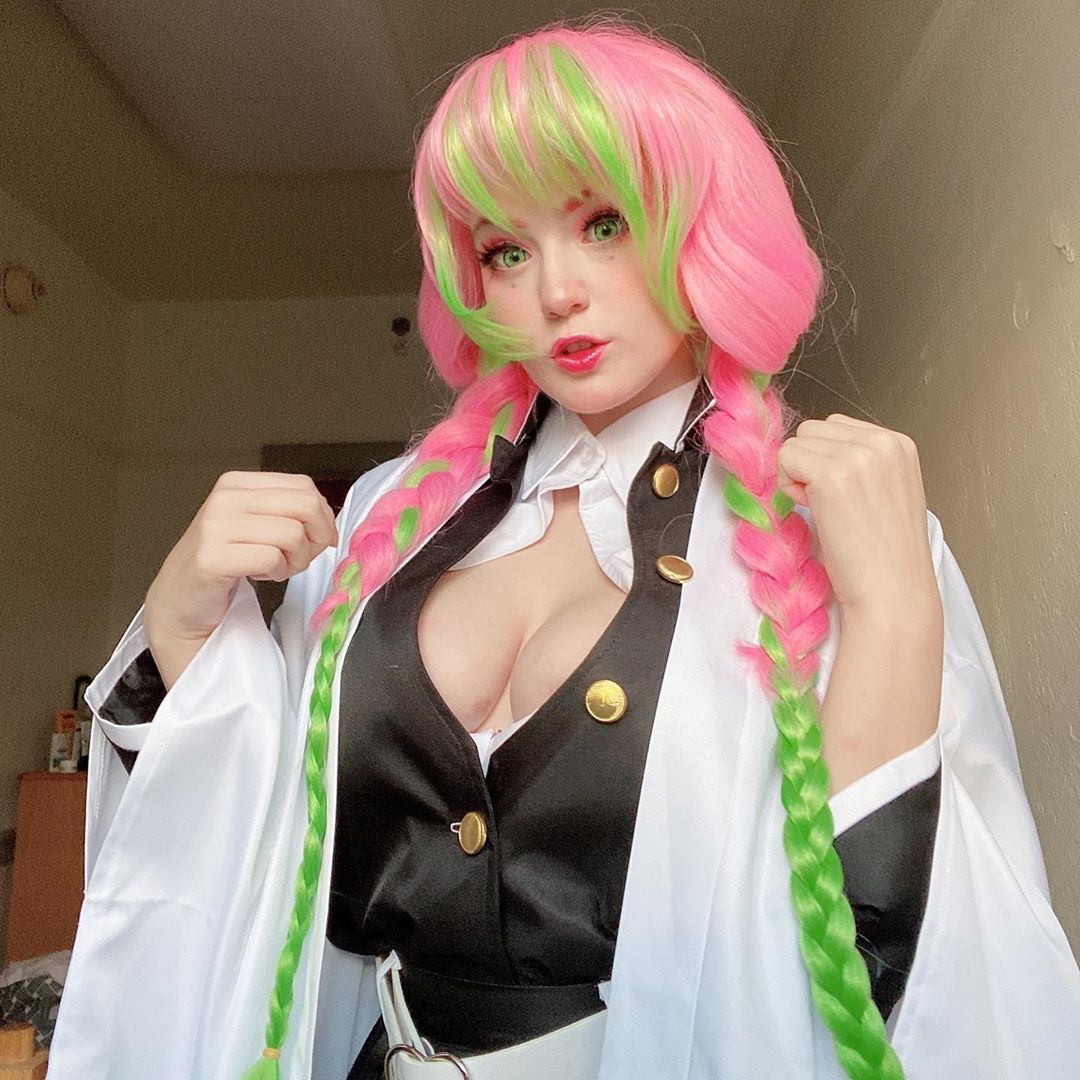 Demon Slayer Kimetsu No Yaiba Kanroji Mitsuri Long Pink Mixed Green Braid Cosplay Wigs Cosplay Wigs Cosplay Wigs