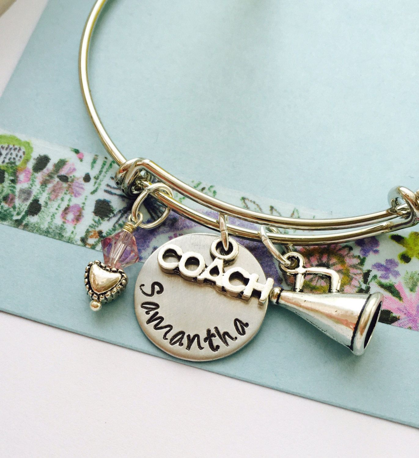 Cheerleader coach bracelet cheer bangle bracelet cherleading