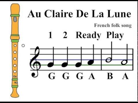Recorder Song Au Claire De La Lune Youtube Bag With Images