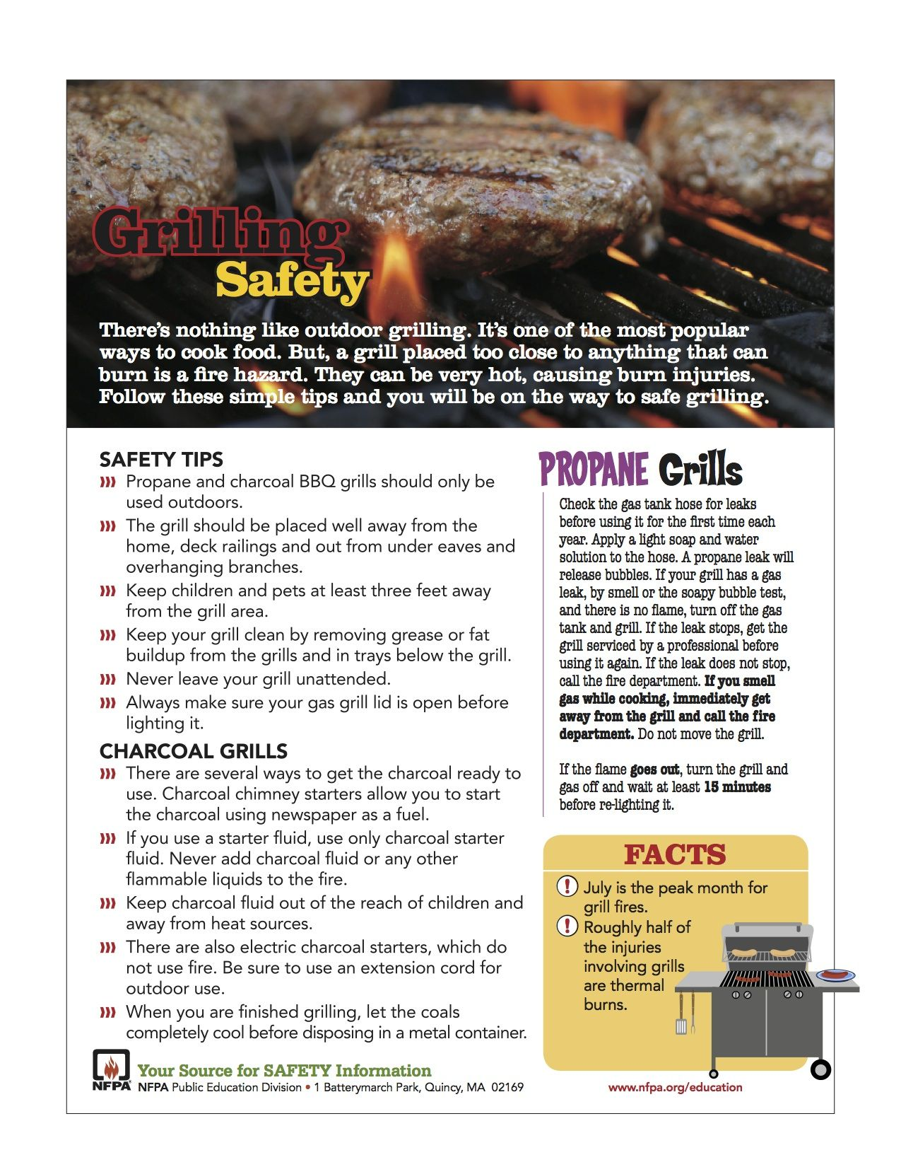 Grill safety for propane and charcoal cooking grilling
