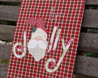 Santa kitchen towel l applique santa be jolly hand embroidery