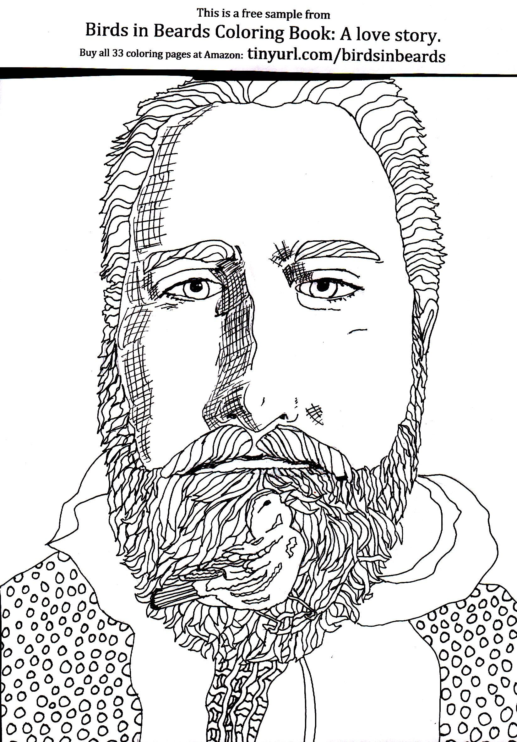 Free Coloring Page From Birds In Beards Coloring Book Https Www