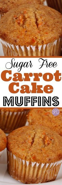 The recipe for delicious Sugar Free Carrot Cake Muffins #sugarfree