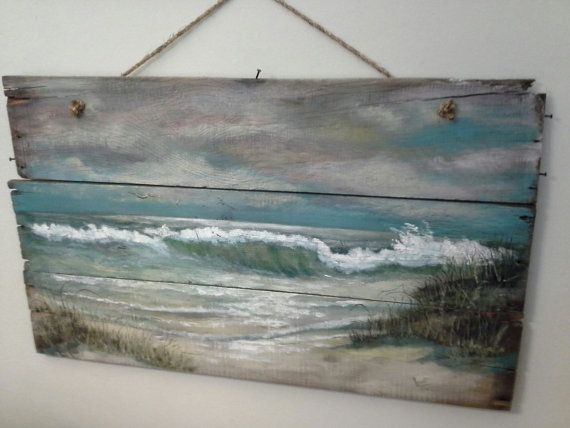 Original ocean seascape painting on reclaimed wood shabby for Peintre sur bois