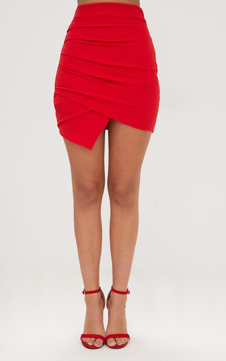 20e96a938 Red Ruched Wrap Mini Skirt in 2019   Products   Mini skirts, Red ...